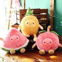 Wholesale anime bedding resale online - Watermelon Slice Peach Pineapple Plush Doll Fruits Stuffed Toy Decorative Sofa Chair Bed Throw Pillow Plush Plants Gift