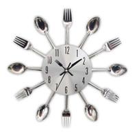 relógio de metal moderno venda por atacado-Cutelaria de Metal Relógio De Parede De Cozinha Colher Garfo Criativo Relógios de Parede De Quartzo Moderno Design Decorativo Horloge Murale