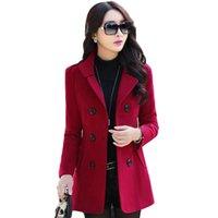 модная грудь оптовых-Женщины блейзеры и куртки модные плюс размер M-3XL двубортный кнопка блейзеры шерсть пальто зима Blaser Femenino