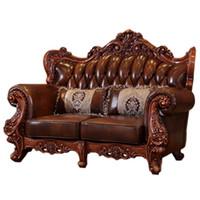 muebles de sala de estar de lujo al por mayor-Conjunto de muebles de lujo de estilo clásico europeo y americano. Sofá de cuero moderno. Mesa de centro de mesa de mármol. Mueble de salón.
