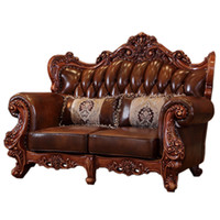 Wholesale luxury classic furniture for sale - Group buy Luxury classic European and American style furniture set Modern Leather Sofa marble center table tv stand Living Room Furniture