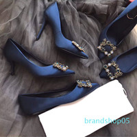 Wholesale grey pumps for women resale online - new ladies sexy high heels for women pumps high heeled shoes with square buckle diamond available heel cm cm high quality i