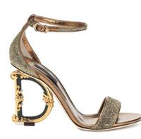 ayakkabı oyulmuş topuklu ayakkabı toptan satış-Yaz kadın pompa yeni mektuplar oyma yüksek topuklu kadın sandalet altın toka kayış ayakkabı bayanlar parti elbise burnu açık pompalar
