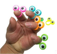 Wholesale eyes puppet resale online - Kids Novelty Toys Eye Finger Puppets Plastic Rings With Wiggle Eyes Hotsale Party Finger Toy Creative Cartoon Eye Puppet Props CZYQ5828