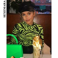 trajes de cuerpo de cebra al por mayor-Boofeenaa Sexy Body Zebra Animal Print Neon Green Hot Pink cuello alto manga larga Body Suit Tops primavera C70-i94 Q190516