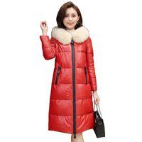 мех из овчины оптовых-Genuine Sheepskin Leather Suede Down Parkas Coat Jacket With  Fur Hoody Winter Women Outerwear Coats 3XL 4XL LF9033