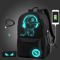Wholesale anti theft for laptops resale online - OUTAD Student School Backpack Anime Luminous USB Charge Laptop Computer Backpack For Teenager Anti theft Boys School Bag