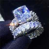 anillo de plata esterlina vintage hombres al por mayor-Vecalon Conjuntos de anillos de época 925 de plata esterlina Princess cut Diamond Engagement Wedding band rings para mujeres hombres Joyería