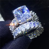 Wholesale vintage sterling silver ring men resale online - Vecalon Vintage Ring Sets sterling silver Princess cut Diamond Engagement Wedding band rings for women men Jewelry