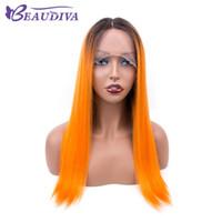 peluca naranja recta corta al por mayor-ombre naranja del cordón del pelo humano pelucas delanteras Las pelucas recto brasileño de la Virgen de Remy Cabello corto Cabello humano para las mujeres Beau diva