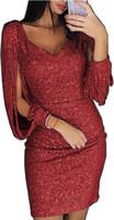 саш-ким оптовых-Женская одежда горячая новая мода V-воротник сексуальный дизайнер платье полоса с длинными рукавами тела обрезки ягодицы Женская одежда Платья партии