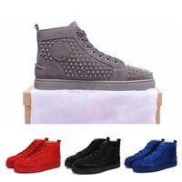 altlıklar toptan satış-2019 Yeni Tasarımcı Kırmızı Bottoms Günlük Ayakkabılar Geçmeli Merdane Tekne Erkek Kadın Süet Spike Kristal Deri Spor Sneakers Kutusu Toz Çanta 36-47