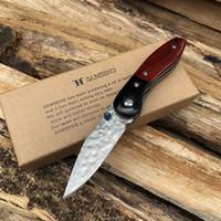 ingrosso coltelli a tasca fatti a mano-Coltello tascabile Damasco a mano VG10 Strumenti multifunzioni Coltello pieghevole da caccia Collezione Attrezzi da campeggio
