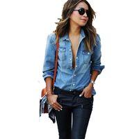 ingrosso jeans camicie lunghe stile di moda-Nuovo 2017 Autunno Donna Camicia di jeans Moda stile manica lunga Camicie casual Donna 2 colori camicette Plus Size Blusa Jeans Feminina