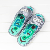 Wholesale hot massaging slippers resale online - Dropshipping Men Blue Stripe Essential Health Care Taichi Acupuncture Foot Massage Slippers with Magnet Massage Slippers Hot