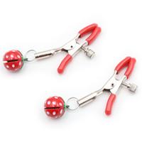 campanas del pezón femenino al por mayor-Fetish Erotic Sex Toys Red Nipple Clamps Estimular Milk Clip Clip de pecho femenino Masaje Juegos para adultos Strawberry Bell Productos del sexo