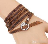 Femme Multicouche Cuir Véritable Strass Statement Wrap Bracelet Bangle
