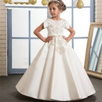 Wholesale customized birthday sashes for sale - Group buy Real Picture Ivory Satin Flower Girl Dress with Appliques and Bow High Quality Ball Gown For First Communion Birthday Customized