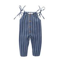 body bio achat en gros de-Les petites filles manches Salopette ceinture barboteuses rayures bleu blanc boutonné devant Enfants Filles Bodys lin en coton bio enfant Tenues 0-4T