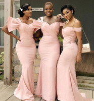 Wholesale white wedding dresses big size resale online - Pink Mermaid One Shoulder bridesmaid Dresses Big Bow Sweep Train Afican Plus Size Wedding Guest Evening Party Gowns Maid Of Honor Dress