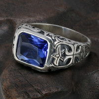4e677b921 Discount heart blue ring 925 - Real Pure 925 Sterling Silver Rings For Men  Blue Natural