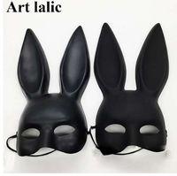 accesorios conejos al por mayor-Marcar Negro Mujer Chica Sexy Orejas de Conejo Máscara Conejito Lindo Orejas Largas Máscara Bondage Fiesta de Disfraces de Halloween Cosplay Traje Accesorios