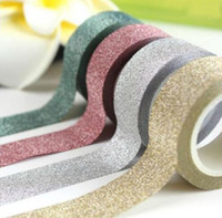 Wholesale mask tape resale online - M Glitter Washi Tape Paper Self Adhesive Stick On Sticky DIY Craft Decorative