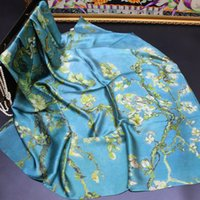 Wholesale autumn tree paintings for sale - Group buy Autumn Oil Painting Apricot Flower Tree Plain Satin Silk Big Square Scarf Printing Scarf Shawl Silk Silk Scarf