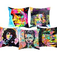 Wholesale sofa pillow pop art for sale - Jim Morrison Elvis Cushion Covers Pop Art David Bowie Einstein Cushion Cover Sofa Decorative Linen Cotton Pillow Case