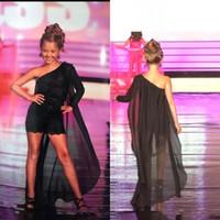 siyah çiçek dantel toptan satış-Siyah Bir Omuz Kızlar Pageant Elbiseler 2020 Şifon Dantel Aplike Tulum Çocuk Mezuniyet Elbise Çiçek Kız Elbiseler BC2269