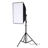 equipo fotográfico al por mayor-Equipo fotográfico Softbox de 50x70cm Caja suave + Lámpara de 45 vatios + Soporte de luz de 2 m para retratistas Fotografía de estudio