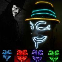Wholesale full face decorative masks resale online - LED Vendetta Mask Colors V Light Up Halloween Cosplay Props Fluorescent Decorative Dancing Mask OOA7242