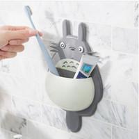 diş fırçası diş macunu fincanları toptan satış-Totoro Diş Fırçası Tutucu Karikatür Sevimli Duvara Monte Asılı Enayi Raf Diş Macunu Sahipleri ile 3 Vantuz Kaşık Tutucu GGA2142