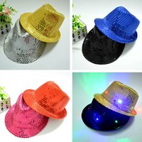 geführte cowboyhüte großhandel-Kinder LED Hüte Bunte Cowboy Jazz Pailletten Hüte Kappe Blinkende Kinder Erwachsene Unisex Party Festival Cosplay Kostüm Hüte Geschenke 6 Farbe JJ19863