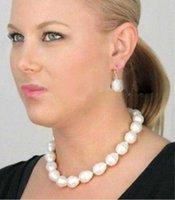 ingrosso guscio di perle barocco-Fine Jewelry A ++ bianco colore shell perla orecchino barocco collana di lusso all'ingrosso set