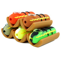 valentine stieg glasrohre großhandel-3,8 zoll löffel silikonpfeife hot dog pfeifen handgefertigte ölbrenner rohre tabakpfeifen mit hot dog stil billig rauchen zubehör