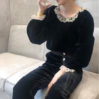 Wholesale long sleeve ruffle bottom shirts for sale - Group buy Autumn Winter Vintage Lace Ruffles Velvet Blouses Lace Fringe Elegant Long Sleeve Bottoming Black Shirt