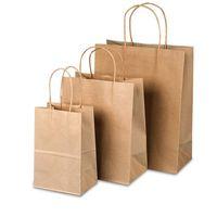 ingrosso borse da regalo riciclato-Sacchetto di carta riciclata Kraft Sacchetto di carta pesante Tote Sacchetto portatile marrone opaco Borse per regali Matrimoni e shopping