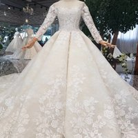 Wholesale bow illusion wedding dresses for sale - Group buy 2019 Latest Design Lebanon Wedding Dresses Illusion Bateau Neck Long Sleeve Covered Button Hand Made D Floral Applique Pattern Bridal Gown