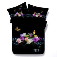 duvet rosas cheias venda por atacado-3d flores borboleta lilycolors rose full / queen / super king size capa de edredão set 100% algodão cama sem enchimento frete grátis