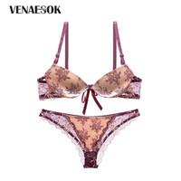 120628051 ... Impressão Underwear Set Sexy Profundo V Sutiã Bordado Bordado Push Up  Conjunto de Sutiã Das Mulheres Lingerie de Algodão Grosso Sutiã de Renda  Calcinha