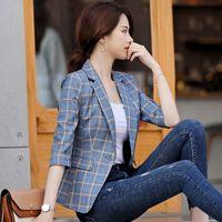 c34d0ecdf9f16 High-quality Blue Plaid Female suit Jacket with Pocket Office Work Lady  Fashion Casual Style blazer Women Wear Coat Plus Size