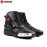 ingrosso motocicletta ad alta velocità-SCOYCO 2019 Scarpe da moto Caviglia alta Cursore in acciaio inossidabile Accessori antisdrucciolo per motori riflettenti Speed Boot MR002