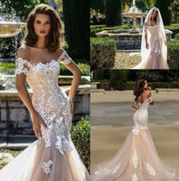Wholesale lace crystal corset mermaid wedding dress resale online - Champagne New Mermaid Wedding Dresses Country Style New Arrival Short Sleeves Lace Appliques Tulle Bridal Gowns with Corset Back