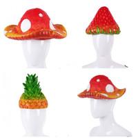 erdbeere liefert großhandel-Karneval Party Simulation Form Ananas Party Hüte Pvc Caps Lustige Strawberry Rose Pflanzen Pilz Kopf Abdeckung Halloween Supplies 24szE1