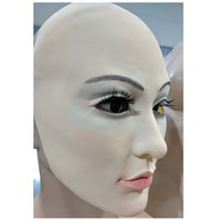 Wholesale skin mask silicone resale online - Realistic Human Skin Mask Disguise Self Masks with False eyelashes Latex Horror Scary Mask halloween mascaras maske silicone