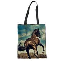 sacos de linho personalizados venda por atacado-Saco MOZOEYU Escola do cavalo bonito Tote da lona dobrável Compras sacos de ombro bolso Bolsa Rugzak Meninas Mulheres Linho bolsa personalizada