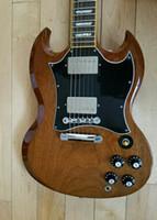 manche de guitare incrusté achat en gros de-Matériel de chrome de guitare électrique de SG de noix de Brown de lustre normal brillant, pont de Little Pin Tone Pro, touche en palissandre, incrustation de trapèze perlé