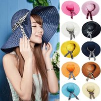 Wholesale green straw hat for sale - Wide Brim Hats Floppy Fold Sun Hat Summer Outdoor Sun Straw Hat Women Retro Beach Hats Fashion Sun Protection Bowknot Cap YFA1028