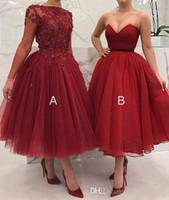 rote ballkleider plus größe großhandel-Verschiedene Art Plus Size Ballkleid Prom Red Brautjungfernkleider 2019 Spitze Applikationen Perlen A-Line Abend Party Kleider Brautjungfer Kleider
